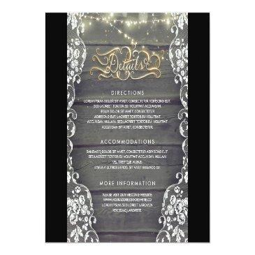 Small Rustic Country Wood Wedding Details - Information Invitationss Front View