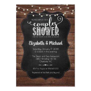 Small Rustic Couples Shower Invitation Front View
