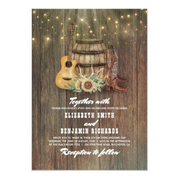 rustic cowboy boots sunflower wine barrel wedding