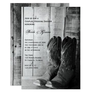 rustic cowboy boots western couples wedding shower