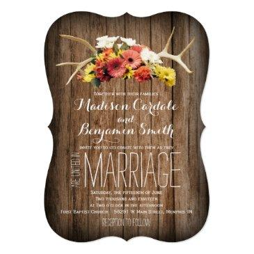 Small Rustic Deer Antlers Daisy Wood Wedding Invitation Front View