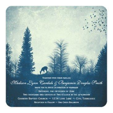 rustic deer blue country trees wedding invitation