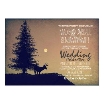 rustic deer pine tree country wedding invitation