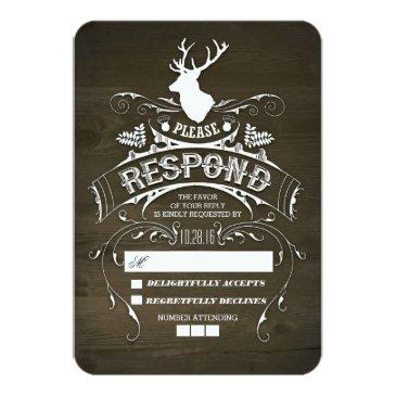 rustic deer wooden wedding rsvp