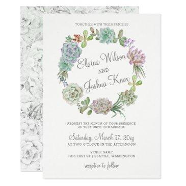 rustic desert succulent wreath wedding invitations