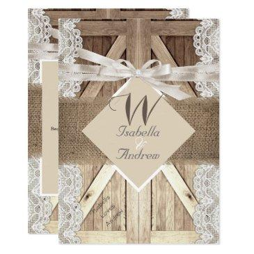 rustic door wedding beige lace wood burlap writing