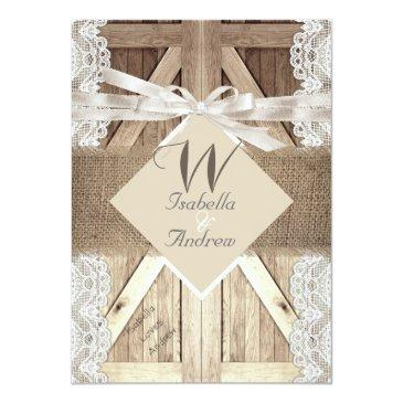 Small Rustic Door Wedding Beige Lace Wood Burlap Writing Front View