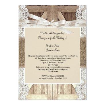 Small Rustic Door Wedding Beige Lace Wood Burlap Writing Back View