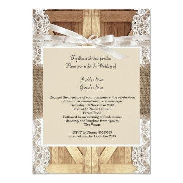 Small Rustic Door Wedding Beige White Lace Wood Burlap 2 Invitationss Back View