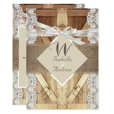 rustic door wedding beige white lace wood burlap 2 invitation