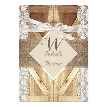 Small Rustic Door Wedding Beige White Lace Wood Burlap Invitationss Front View