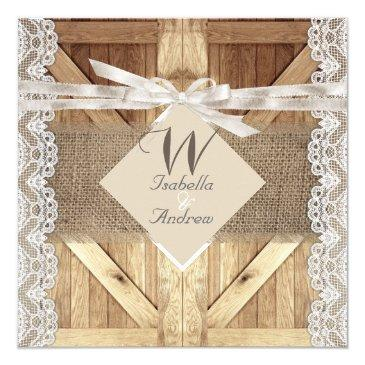 rustic door wedding beige white lace wood burlap
