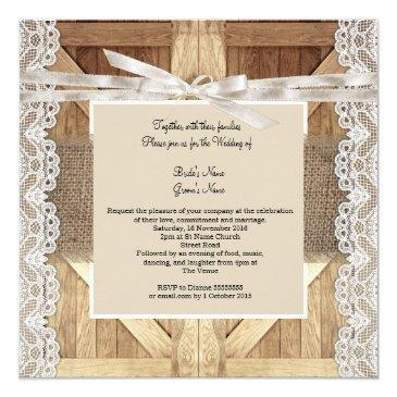 Small Rustic Door Wedding Beige White Lace Wood Burlap Back View