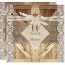rustic door wedding beige white lace wood burlap invitations