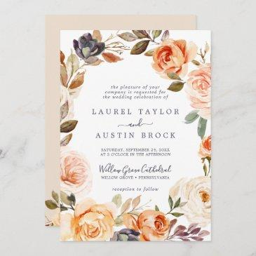 rustic earth florals all in one wedding invitation