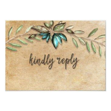 rustic earthy wreath kindly reply wedding rsvp