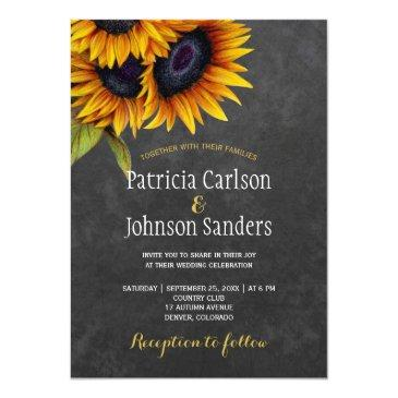 Small Rustic Elegant Sunflower Chalkboard Wedding Front View