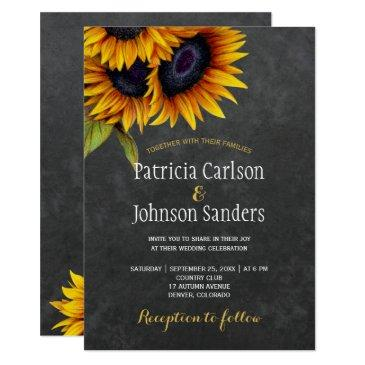 rustic elegant sunflower chalkboard wedding invitations