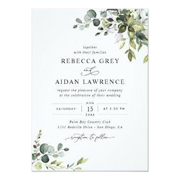 Small Rustic Eucalyptus Leaves Greenery Wedding Invitation Front View