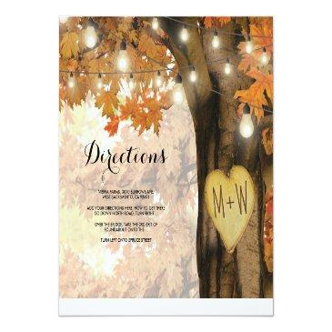 Small Rustic Fall Autumn Tree Lights Wedding Directions Invitationss Front View