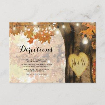 rustic fall autumn tree lights wedding directions enclosure