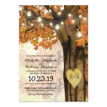 Small Rustic Fall Autumn Tree Twinkle Lights Wedding Front View