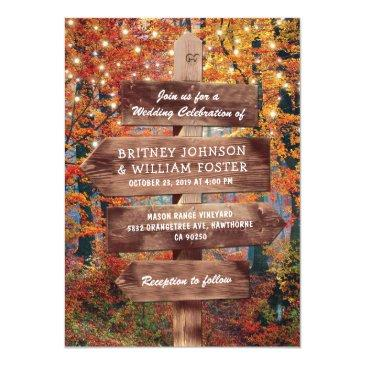 rustic fall autumn woodland string lights wedding invitations
