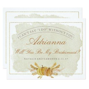 rustic fall gold autumn bridesmaid invitations