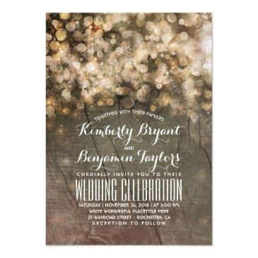 Small Rustic Fall Gold Glitter Lights Wood Wedding Invitationss Front View