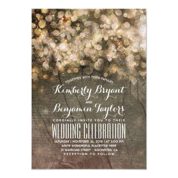 rustic fall gold glitter lights wood wedding invitations
