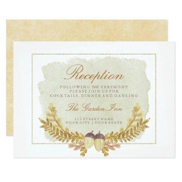 rustic fall gold watercolor wedding reception invitationss