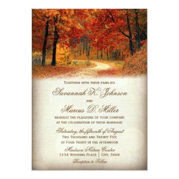 rustic fall leaves autumn wedding invitation