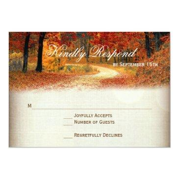 Small Rustic Fall Leaves Autumn Wedding Rsvp Front View