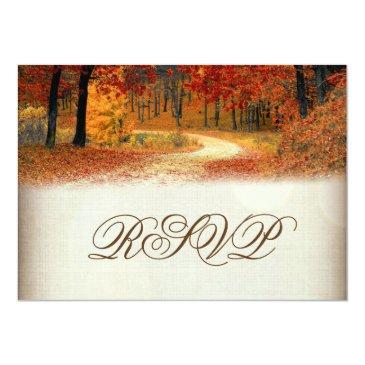 Small Rustic Fall Leaves Autumn Wedding Rsvp Back View