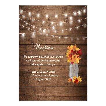 Small Rustic Fall Leaves String Light Wedding Reception Invitation Front View