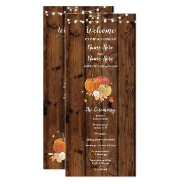 rustic fall pumpkin wood wedding program details