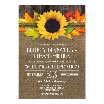 rustic fall sunflower  burlap