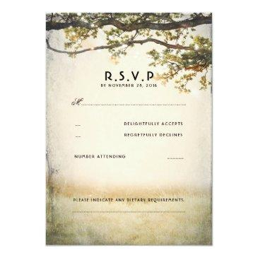 Small Rustic Fall Tree Branches Wedding Rsvp Invitationss Front View