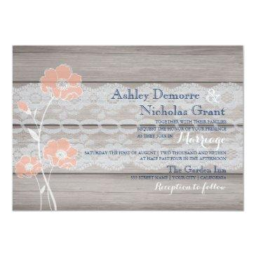 rustic floral and lace wedding invitation.