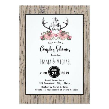 rustic floral barnwood hunt is over couple shower