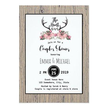 rustic floral barnwood hunt is over couple shower invitations