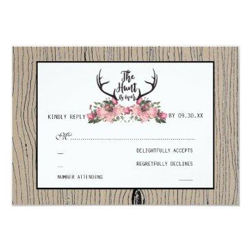 rustic floral barnwood hunt is over wedding rsvp