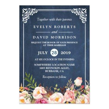 Small Rustic Floral Blue Chalkboard Formal Wedding Invitationss Front View