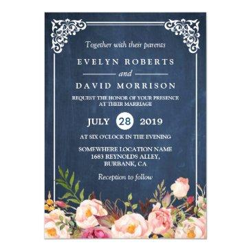 rustic floral blue chalkboard formal wedding invitations
