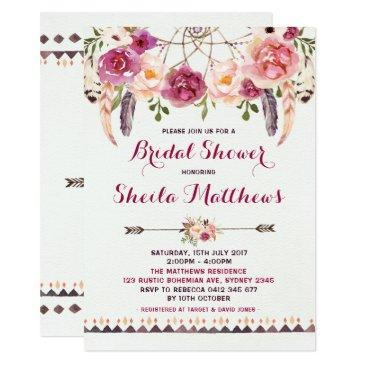 rustic floral boho  bridal shower invite