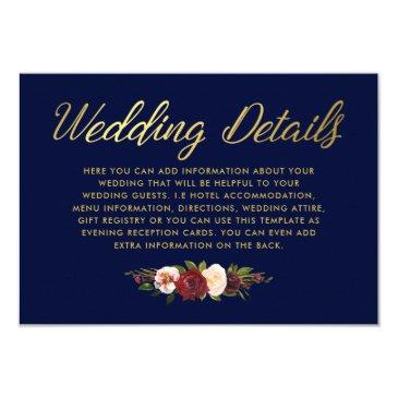 rustic floral burgundy navy gold wedding details invitations