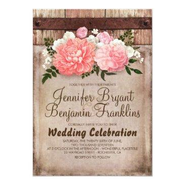 Small Rustic Floral Burlap And Barn Wood Country Wedding Invitationss Front View
