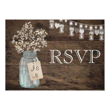 Small Rustic Floral Country Barn Wedding Rsvp Invitation Front View