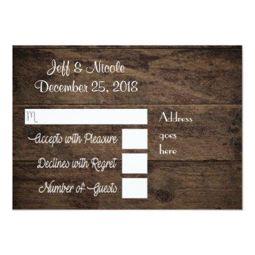 Small Rustic Floral Country Barn Wedding Rsvp Invitation Back View