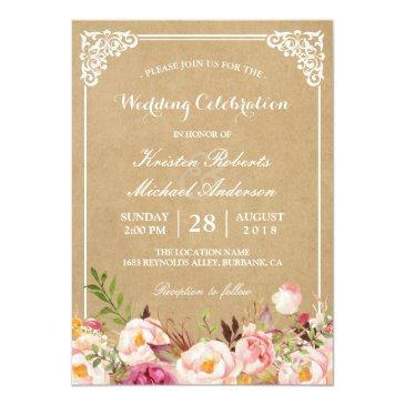 Small Rustic Floral Frame Kraft | Wedding Celebration Front View